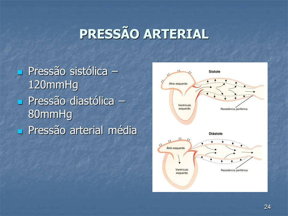 24 PRESSÃO ARTERIAL Pressão sistólica – 120mmHg Pressão sistólica – 120mmHg Pressão diastólica – 80mmHg Pressão diastólica – 80mmHg Pressão arterial m