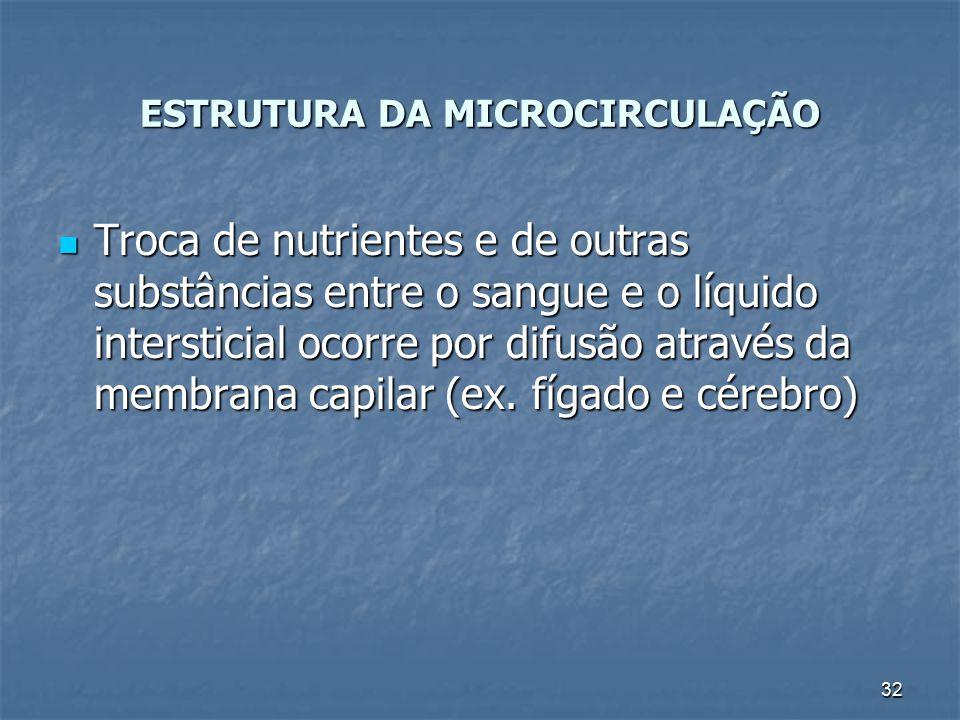 32 ESTRUTURA DA MICROCIRCULAÇÃO Troca de nutrientes e de outras substâncias entre o sangue e o líquido intersticial ocorre por difusão através da memb