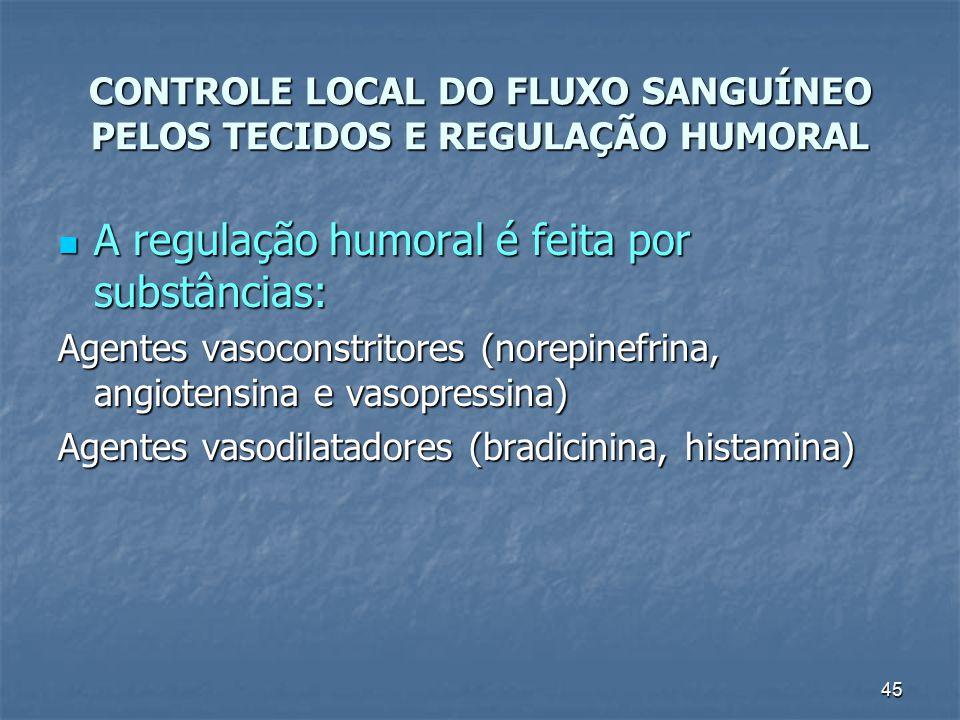 45 CONTROLE LOCAL DO FLUXO SANGUÍNEO PELOS TECIDOS E REGULAÇÃO HUMORAL A regulação humoral é feita por substâncias: A regulação humoral é feita por su