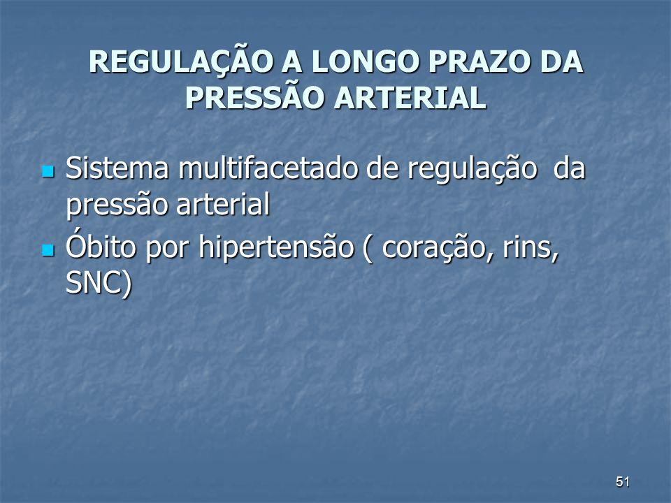 51 REGULAÇÃO A LONGO PRAZO DA PRESSÃO ARTERIAL Sistema multifacetado de regulação da pressão arterial Sistema multifacetado de regulação da pressão ar