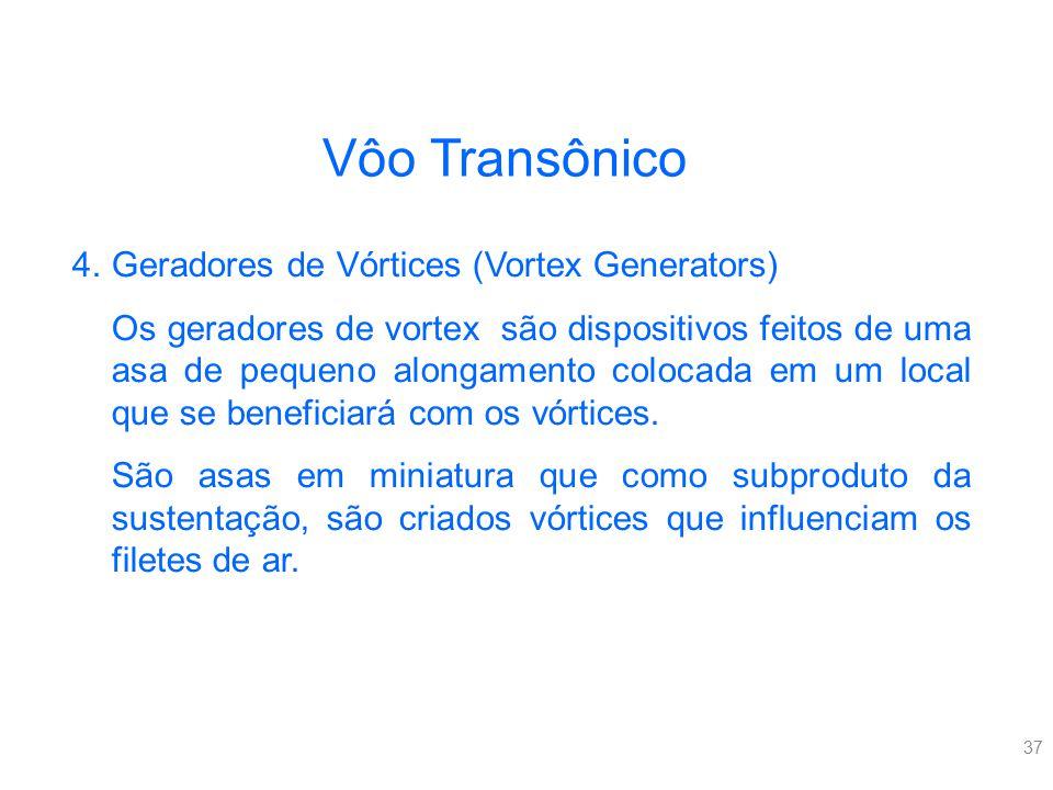 37 Vôo Transônico 4.Geradores de Vórtices (Vortex Generators) Os geradores de vortex são dispositivos feitos de uma asa de pequeno alongamento colocad