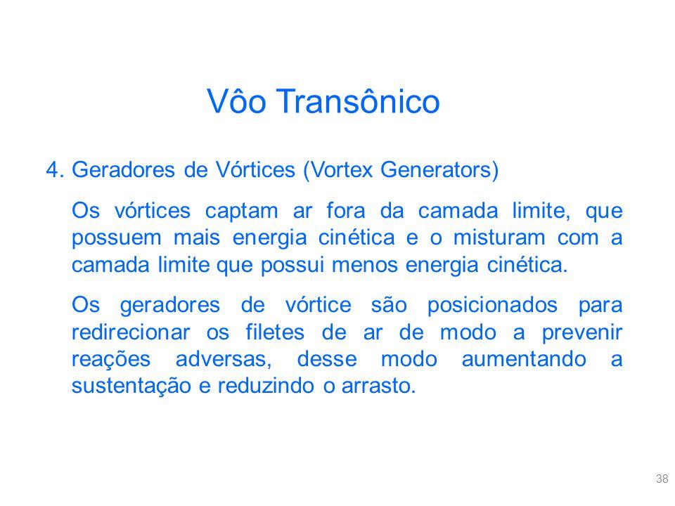 38 4.Geradores de Vórtices (Vortex Generators) Os vórtices captam ar fora da camada limite, que possuem mais energia cinética e o misturam com a camad