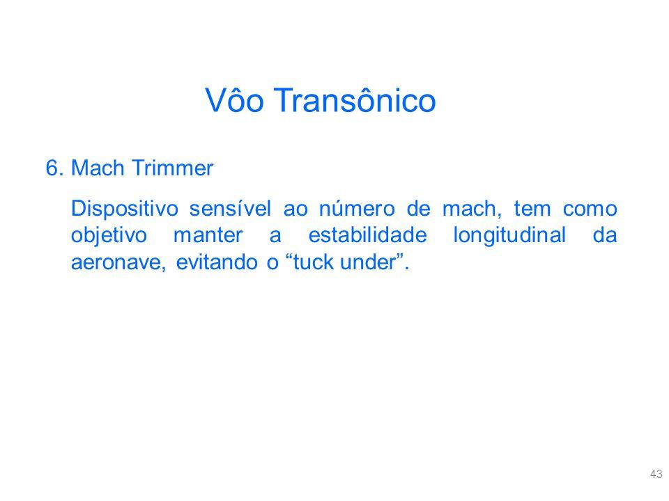 43 Vôo Transônico 6.Mach Trimmer Dispositivo sensível ao número de mach, tem como objetivo manter a estabilidade longitudinal da aeronave, evitando o