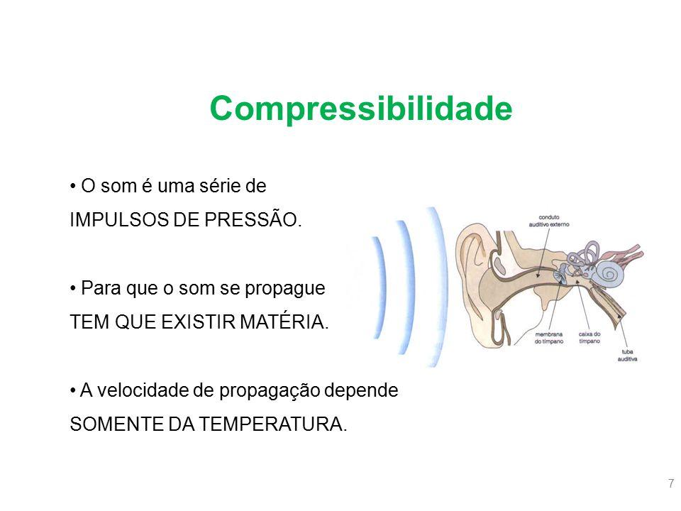 7 O som é uma série de IMPULSOS DE PRESSÃO. Para que o som se propague TEM QUE EXISTIR MATÉRIA. A velocidade de propagação depende SOMENTE DA TEMPERAT