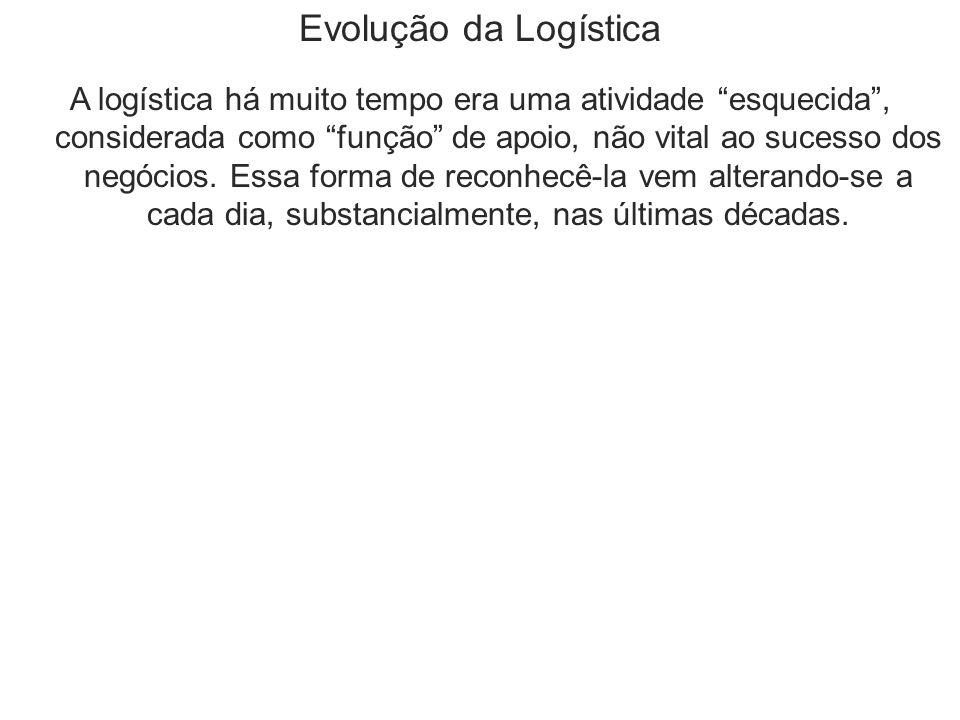 Evolução da Logística A logística há muito tempo era uma atividade esquecida , considerada como função de apoio, não vital ao sucesso dos negócios.