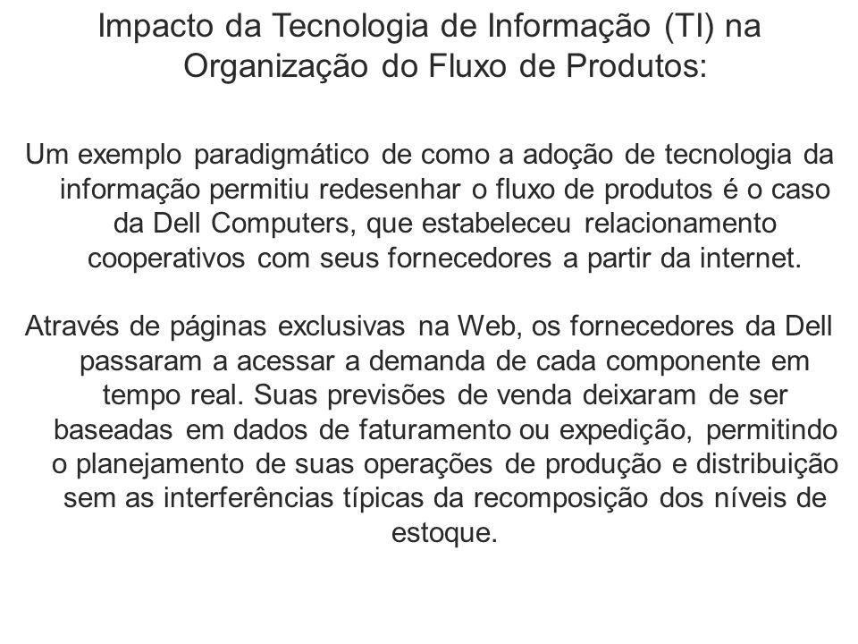 Impacto da Tecnologia de Informação (TI) na Organização do Fluxo de Produtos: Um exemplo paradigmático de como a adoção de tecnologia da informação permitiu redesenhar o fluxo de produtos é o caso da Dell Computers, que estabeleceu relacionamento cooperativos com seus fornecedores a partir da internet.
