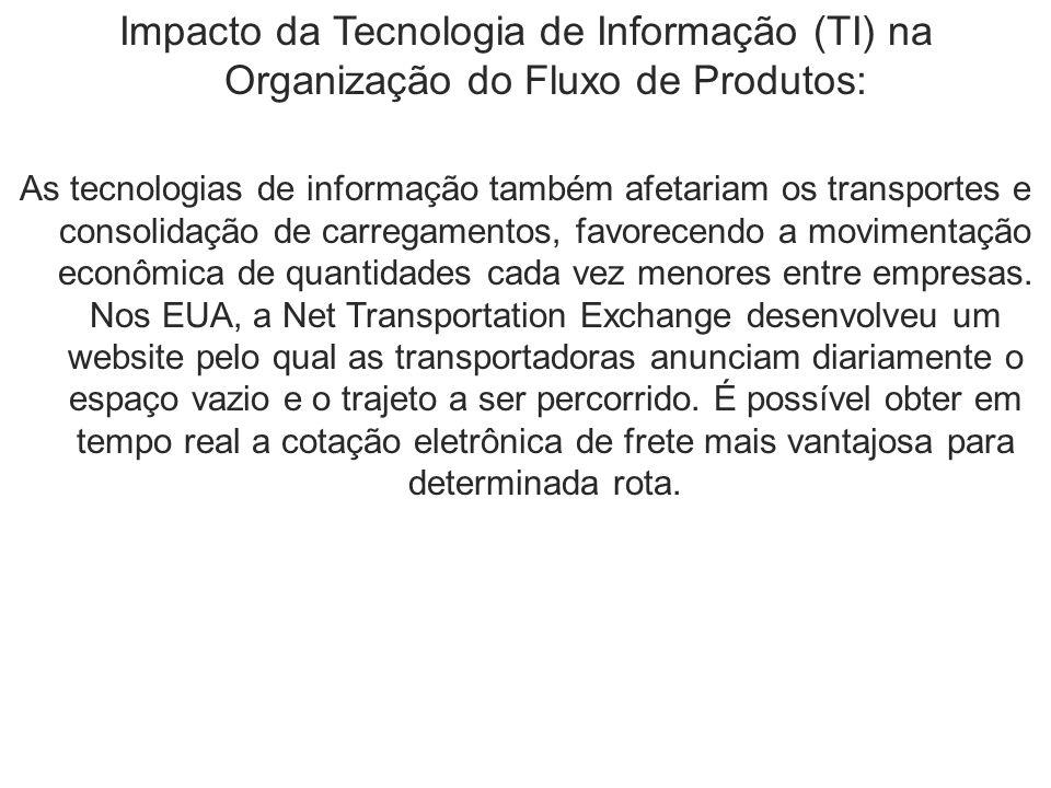 Impacto da Tecnologia de Informação (TI) na Organização do Fluxo de Produtos: As tecnologias de informação também afetariam os transportes e consolida