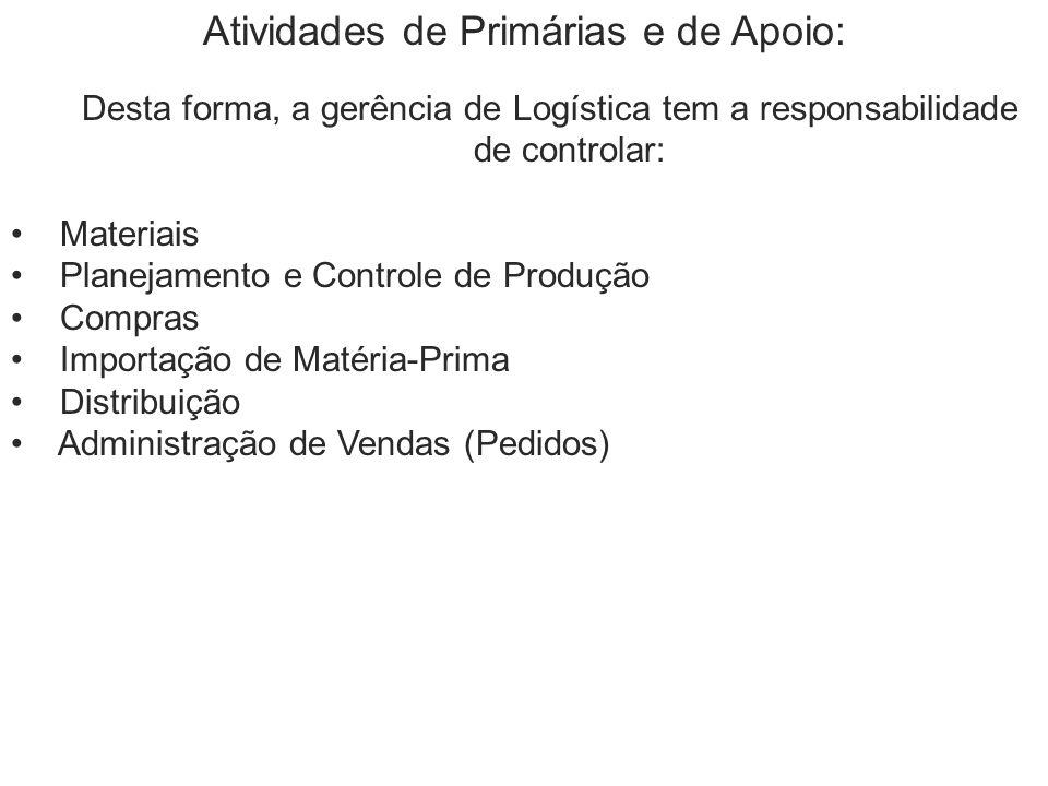 Atividades de Primárias e de Apoio: Desta forma, a gerência de Logística tem a responsabilidade de controlar: Materiais Planejamento e Controle de Pro