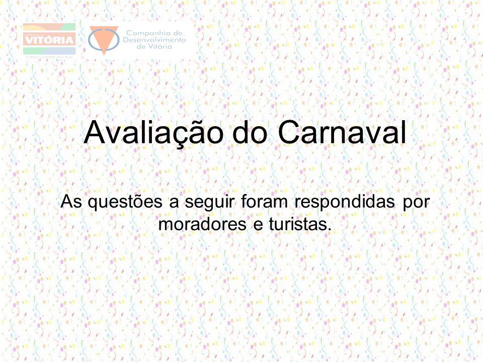 Avaliação do Carnaval As questões a seguir foram respondidas por moradores e turistas.