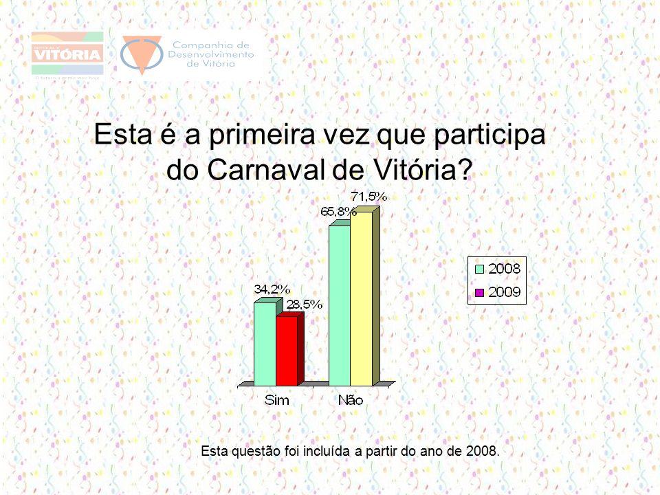 Esta é a primeira vez que participa do Carnaval de Vitória.