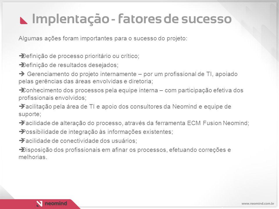 Implentação - fatores de sucesso Algumas ações foram importantes para o sucesso do projeto:  Definição de processo prioritário ou crítico;  Definiçã