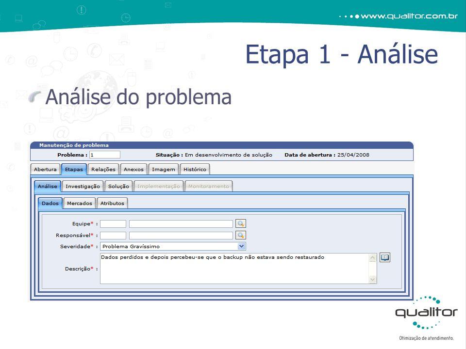 Análise do problema Etapa 1 - Análise