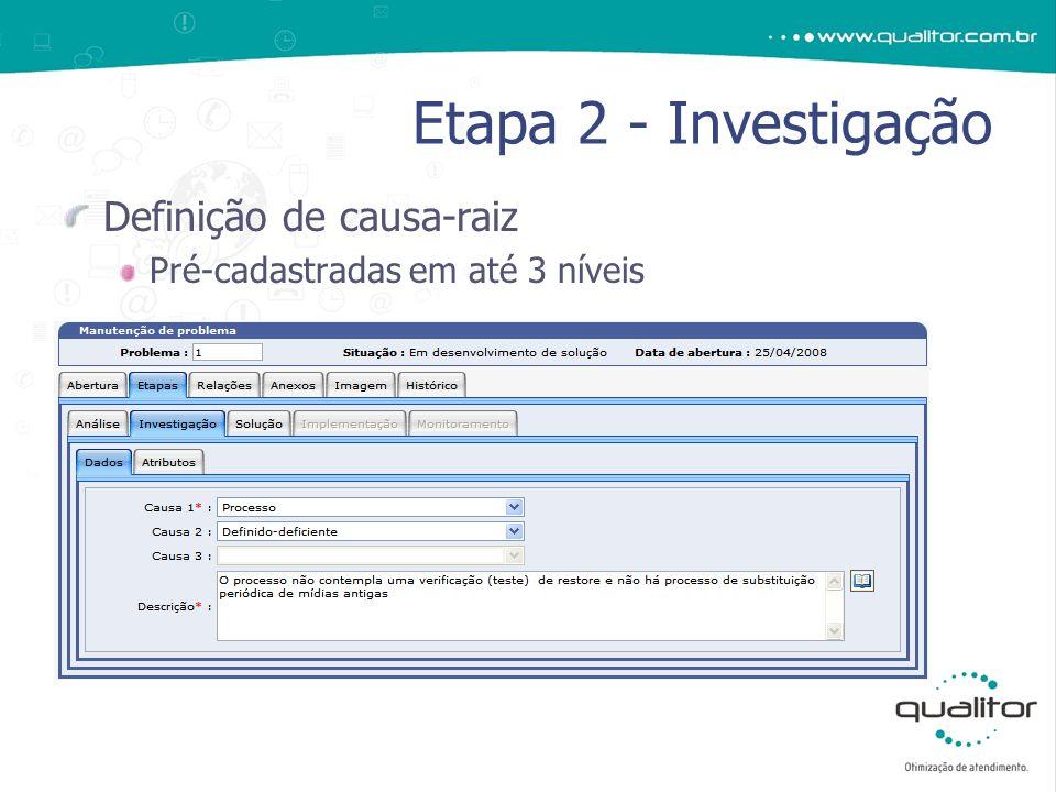 Definição de causa-raiz Pré-cadastradas em até 3 níveis Etapa 2 - Investigação