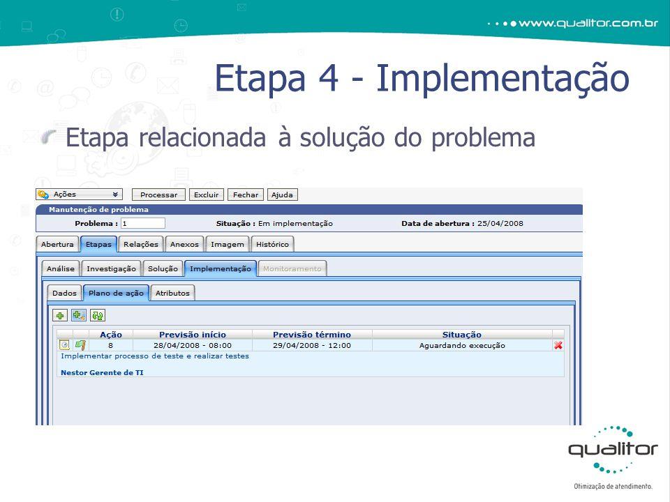 Etapa relacionada à solução do problema Etapa 4 - Implementação