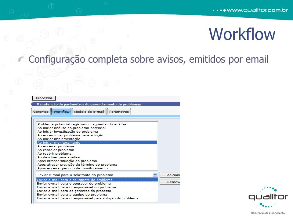 Configuração completa sobre avisos, emitidos por email Workflow