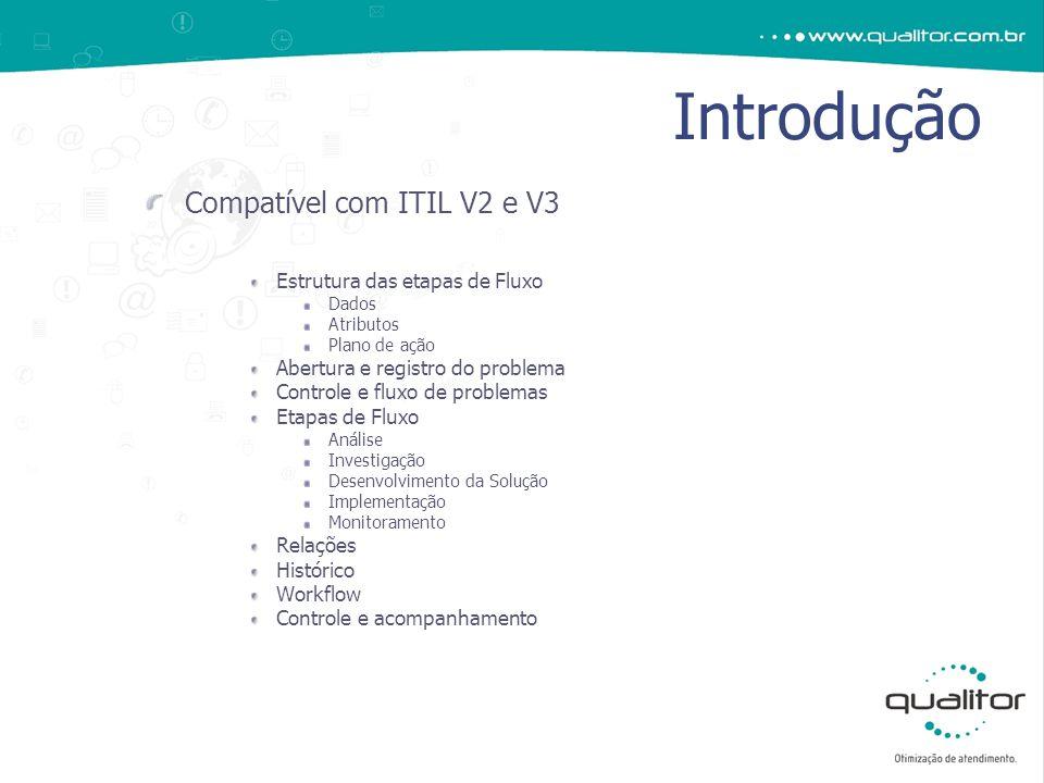 Introdução Compatível com ITIL V2 e V3 Estrutura das etapas de Fluxo Dados Atributos Plano de ação Abertura e registro do problema Controle e fluxo de problemas Etapas de Fluxo Análise Investigação Desenvolvimento da Solução Implementação Monitoramento Relações Histórico Workflow Controle e acompanhamento