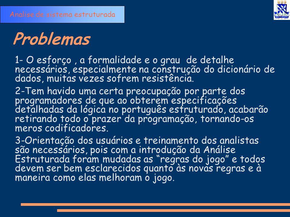 Problemas 1- O esforço, a formalidade e o grau de detalhe necessários, especialmente na construção do dicionário de dados, muitas vezes sofrem resistê
