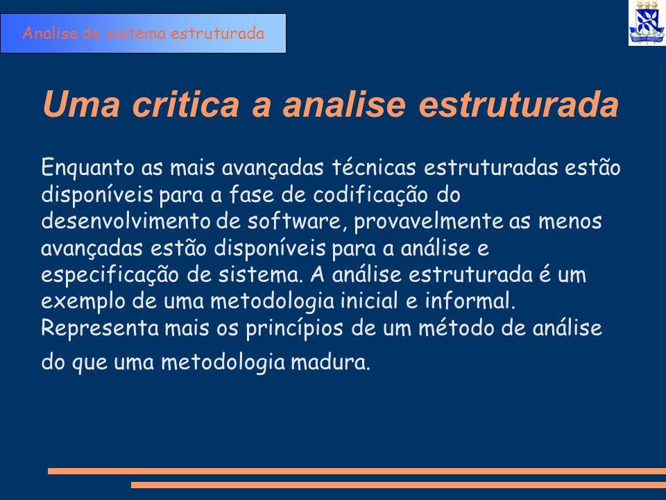 Uma critica a analise estruturada Enquanto as mais avançadas técnicas estruturadas estão disponíveis para a fase de codificação do desenvolvimento de