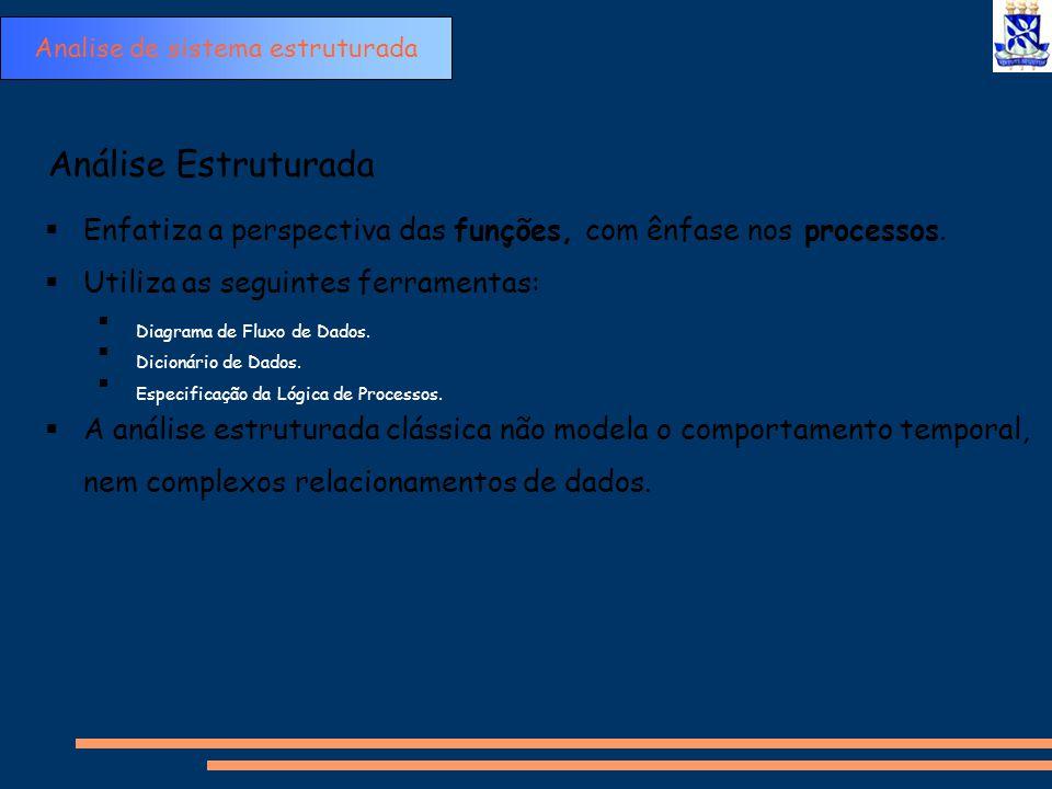 Análise Estruturada  Enfatiza a perspectiva das funções, com ênfase nos processos.  Utiliza as seguintes ferramentas:  Diagrama de Fluxo de Dados.