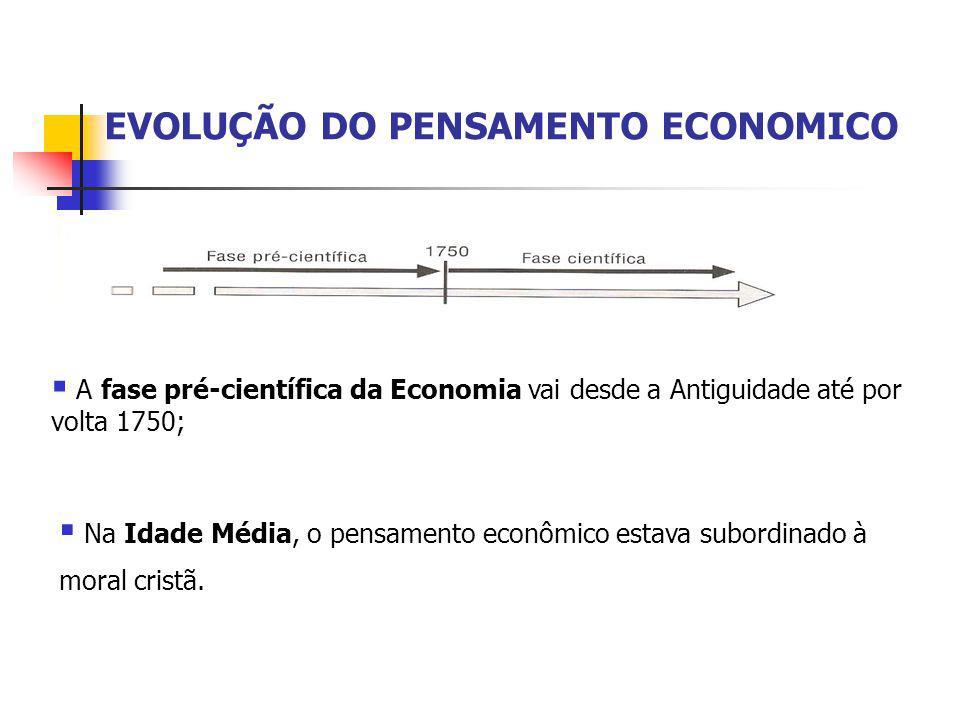EVOLUÇÃO DO PENSAMENTO ECONOMICO  A fase pré-científica da Economia vai desde a Antiguidade até por volta 1750;  Na Idade Média, o pensamento econôm