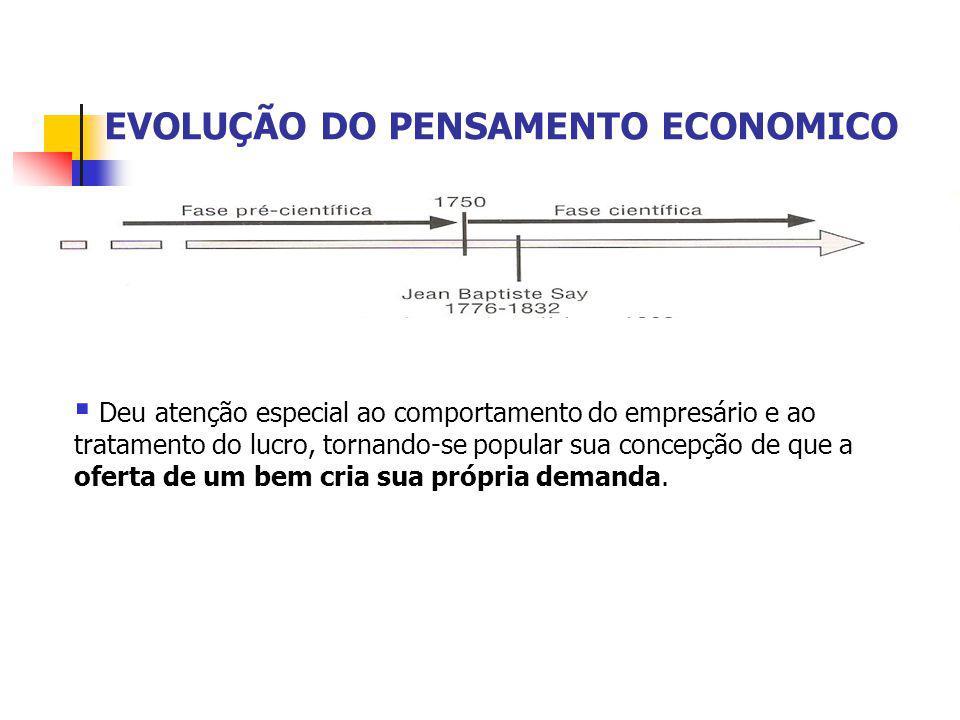 EVOLUÇÃO DO PENSAMENTO ECONOMICO  Deu atenção especial ao comportamento do empresário e ao tratamento do lucro, tornando-se popular sua concepção de