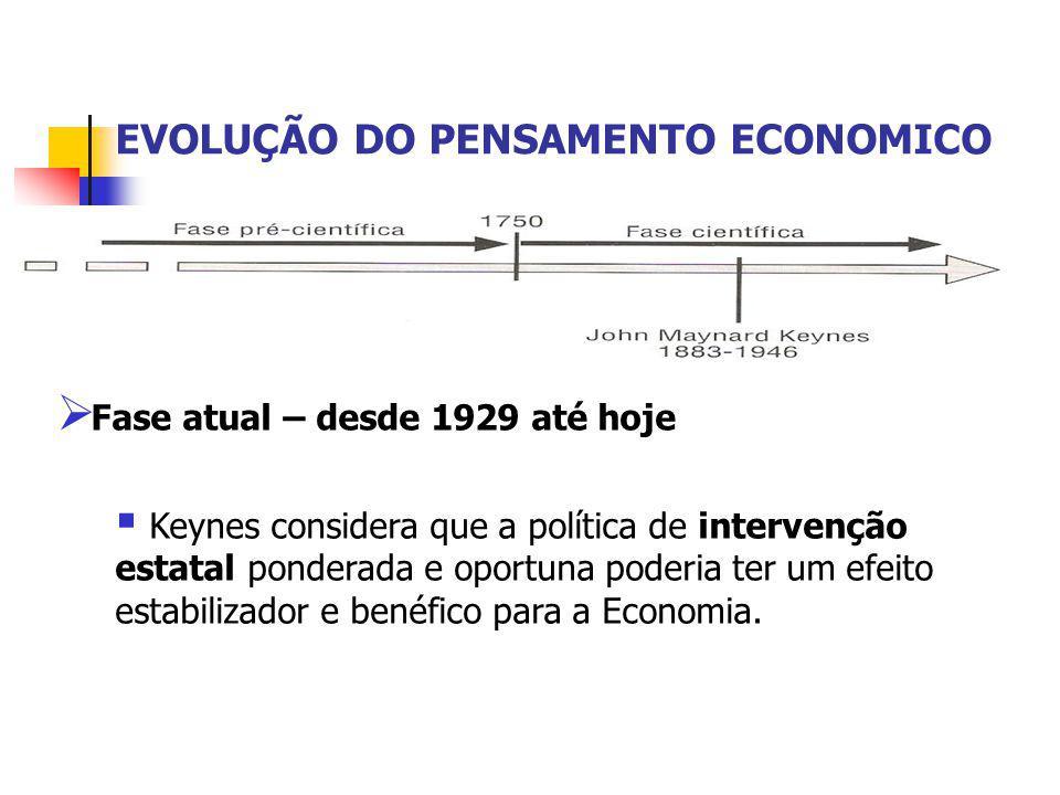 EVOLUÇÃO DO PENSAMENTO ECONOMICO  Fase atual – desde 1929 até hoje  Keynes considera que a política de intervenção estatal ponderada e oportuna pode