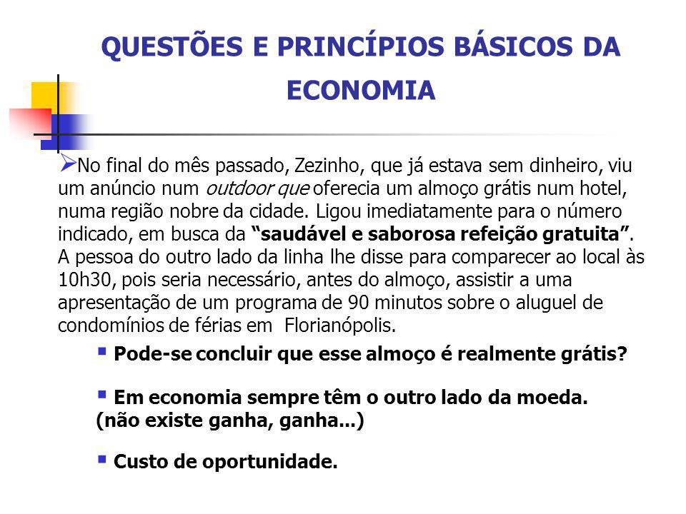 QUESTÕES E PRINCÍPIOS BÁSICOS DA ECONOMIA  No final do mês passado, Zezinho, que já estava sem dinheiro, viu um anúncio num outdoor que oferecia um a