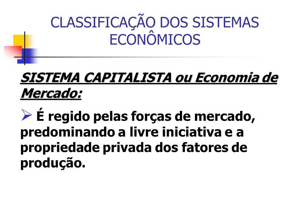 CLASSIFICAÇÃO DOS SISTEMAS ECONÔMICOS SISTEMA CAPITALISTA ou Economia de Mercado:  É regido pelas forças de mercado, predominando a livre iniciativa