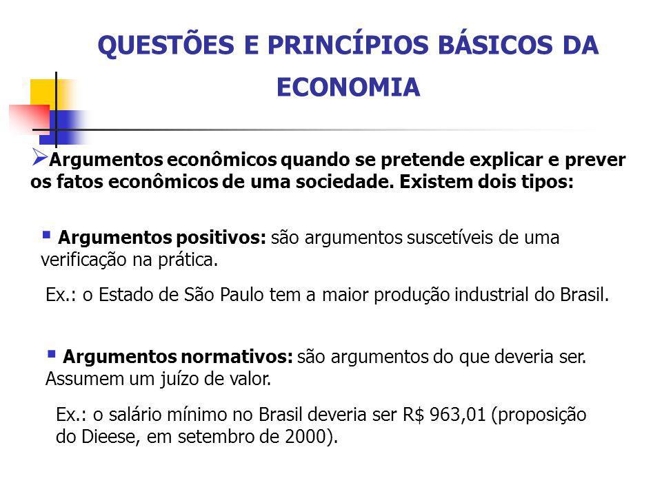 QUESTÕES E PRINCÍPIOS BÁSICOS DA ECONOMIA  Argumentos econômicos quando se pretende explicar e prever os fatos econômicos de uma sociedade. Existem d