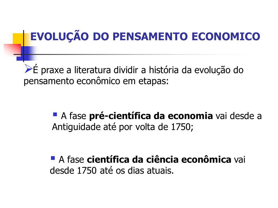  É praxe a literatura dividir a história da evolução do pensamento econômico em etapas:  A fase pré-científica da economia vai desde a Antiguidade a