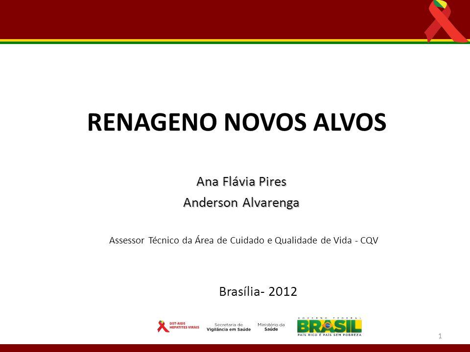 Ana Flávia Pires Anderson Alvarenga Anderson Alvarenga Assessor Técnico da Área de Cuidado e Qualidade de Vida - CQV RENAGENO NOVOS ALVOS Brasília- 20
