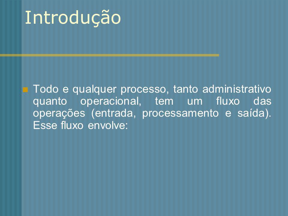 Introdução Todo e qualquer processo, tanto administrativo quanto operacional, tem um fluxo das operações (entrada, processamento e saída). Esse fluxo