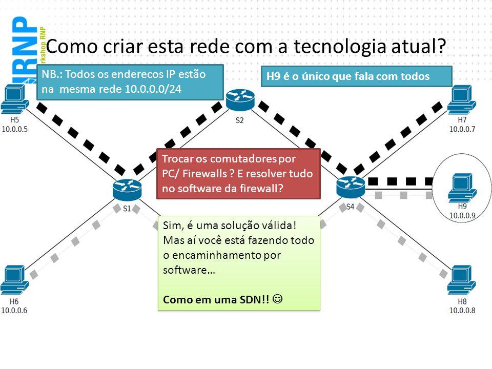 Como criar esta rede com a tecnologia atual? Trocar os comutadores por PC/ Firewalls ? E resolver tudo no software da firewall? Sim, é uma solução vál