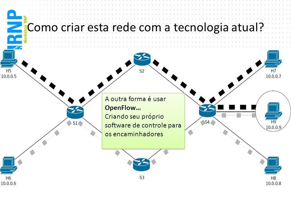 Como criar esta rede com a tecnologia atual? A outra forma é usar OpenFlow… Criando seu próprio software de controle para os encaminhadores A outra fo