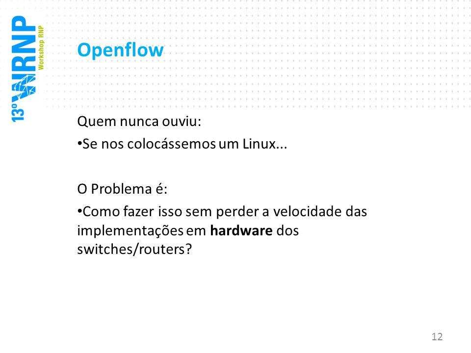 Openflow Quem nunca ouviu: Se nos colocássemos um Linux... O Problema é: Como fazer isso sem perder a velocidade das implementações em hardware dos sw