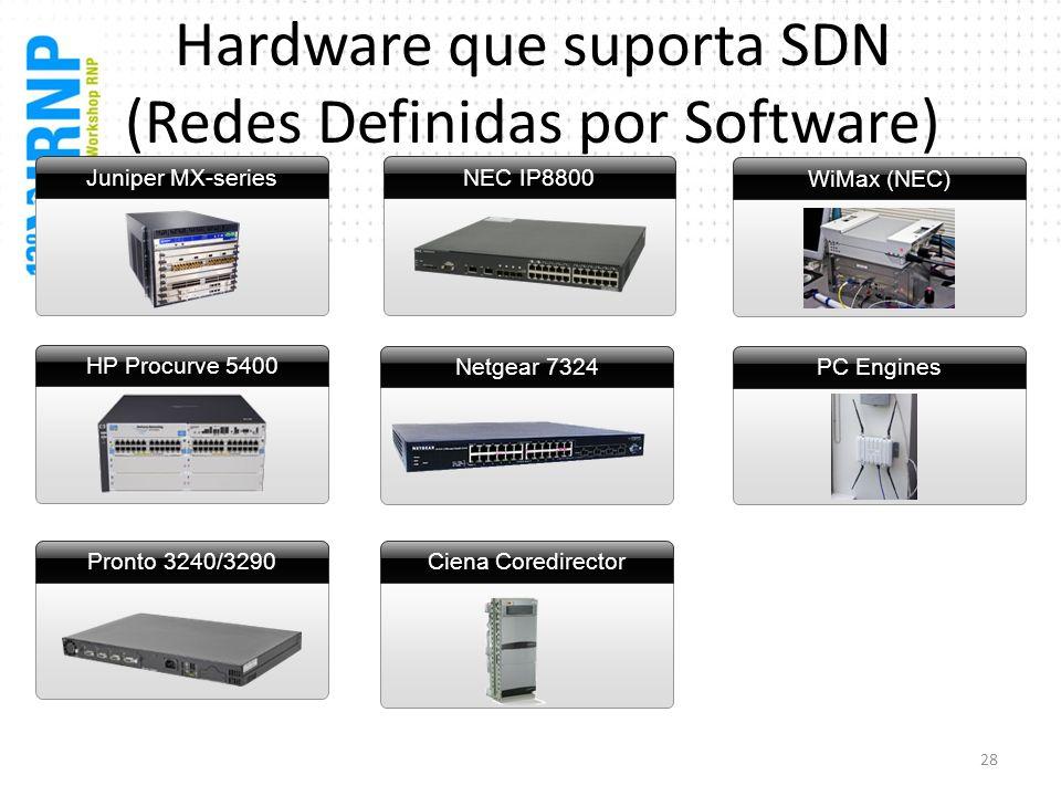 Ciena Coredirector NEC IP8800 Hardware que suporta SDN (Redes Definidas por Software) Juniper MX-series HP Procurve 5400 Pronto 3240/3290 WiMax (NEC)