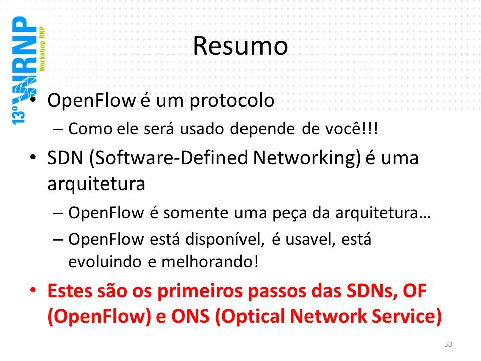 Resumo OpenFlow é um protocolo – Como ele será usado depende de você!!! SDN (Software-Defined Networking) é uma arquitetura – OpenFlow é somente uma p