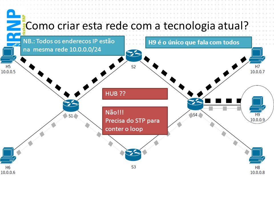 Como criar esta rede com a tecnologia atual? Não!!! Precisa do STP para conter o loop H9 é o único que fala com todos HUB ?? NB.: Todos os enderecos I