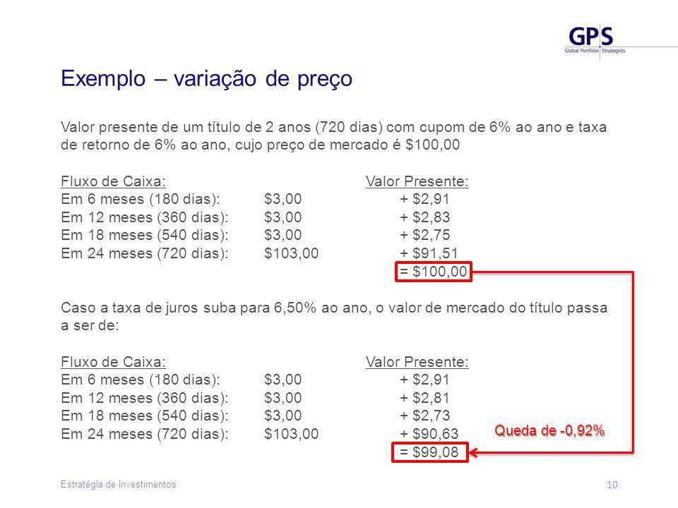 10 Estratégia de Investimentos Exemplo – variação de preço Valor presente de um título de 2 anos (720 dias) com cupom de 6% ao ano e taxa de retorno de 6% ao ano, cujo preço de mercado é $100,00 Fluxo de Caixa:Valor Presente: Em 6 meses (180 dias): $3,00+ $2,91 Em 12 meses (360 dias):$3,00+ $2,83 Em 18 meses (540 dias): $3,00+ $2,75 Em 24 meses (720 dias):$103,00+ $91,51 = $100,00 Caso a taxa de juros suba para 6,50% ao ano, o valor de mercado do título passa a ser de: Fluxo de Caixa:Valor Presente: Em 6 meses (180 dias): $3,00+ $2,91 Em 12 meses (360 dias):$3,00+ $2,81 Em 18 meses (540 dias): $3,00+ $2,73 Em 24 meses (720 dias):$103,00+ $90,63 = $99,08 Queda de -0,92%