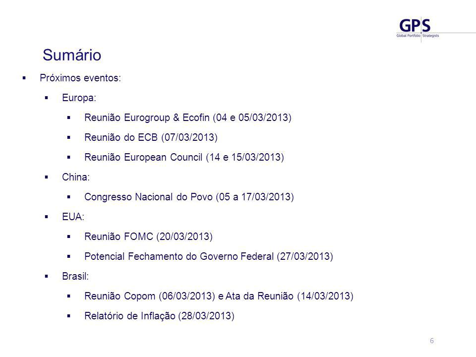 6  Próximos eventos:  Europa:  Reunião Eurogroup & Ecofin (04 e 05/03/2013)  Reunião do ECB (07/03/2013)  Reunião European Council (14 e 15/03/2013)  China:  Congresso Nacional do Povo (05 a 17/03/2013)  EUA:  Reunião FOMC (20/03/2013)  Potencial Fechamento do Governo Federal (27/03/2013)  Brasil:  Reunião Copom (06/03/2013) e Ata da Reunião (14/03/2013)  Relatório de Inflação (28/03/2013) Sumário