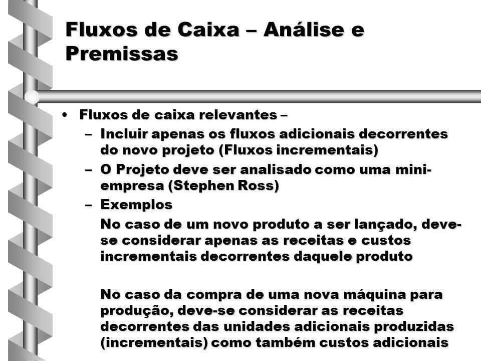 Fluxos de Caixa – Análise e Premissas Fluxos de caixa relevantes –Fluxos de caixa relevantes – –Incluir apenas os fluxos adicionais decorrentes do nov