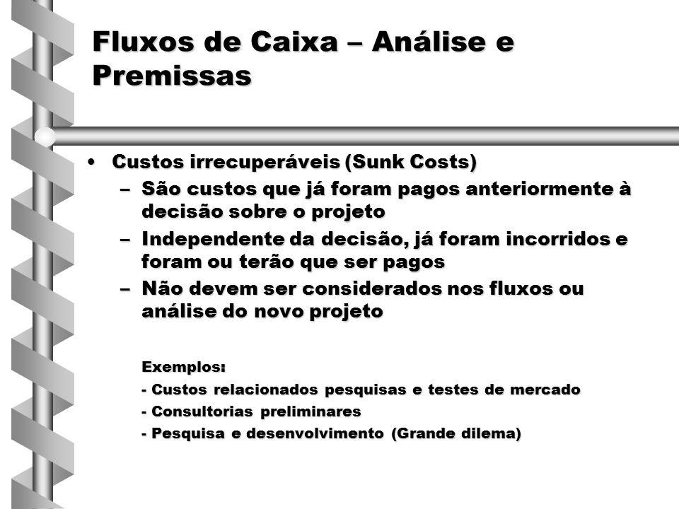 Custos irrecuperáveis (Sunk Costs)Custos irrecuperáveis (Sunk Costs) –São custos que já foram pagos anteriormente à decisão sobre o projeto –Independe