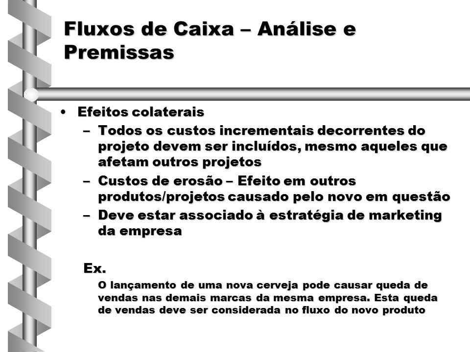Efeitos colateraisEfeitos colaterais –Todos os custos incrementais decorrentes do projeto devem ser incluídos, mesmo aqueles que afetam outros projeto