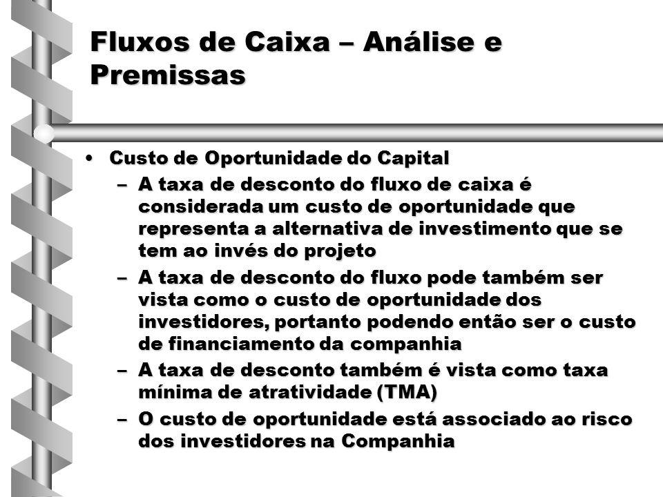 Custo de Oportunidade do CapitalCusto de Oportunidade do Capital –A taxa de desconto do fluxo de caixa é considerada um custo de oportunidade que repr