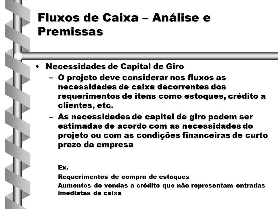 Necessidades de Capital de GiroNecessidades de Capital de Giro –O projeto deve considerar nos fluxos as necessidades de caixa decorrentes dos requerim