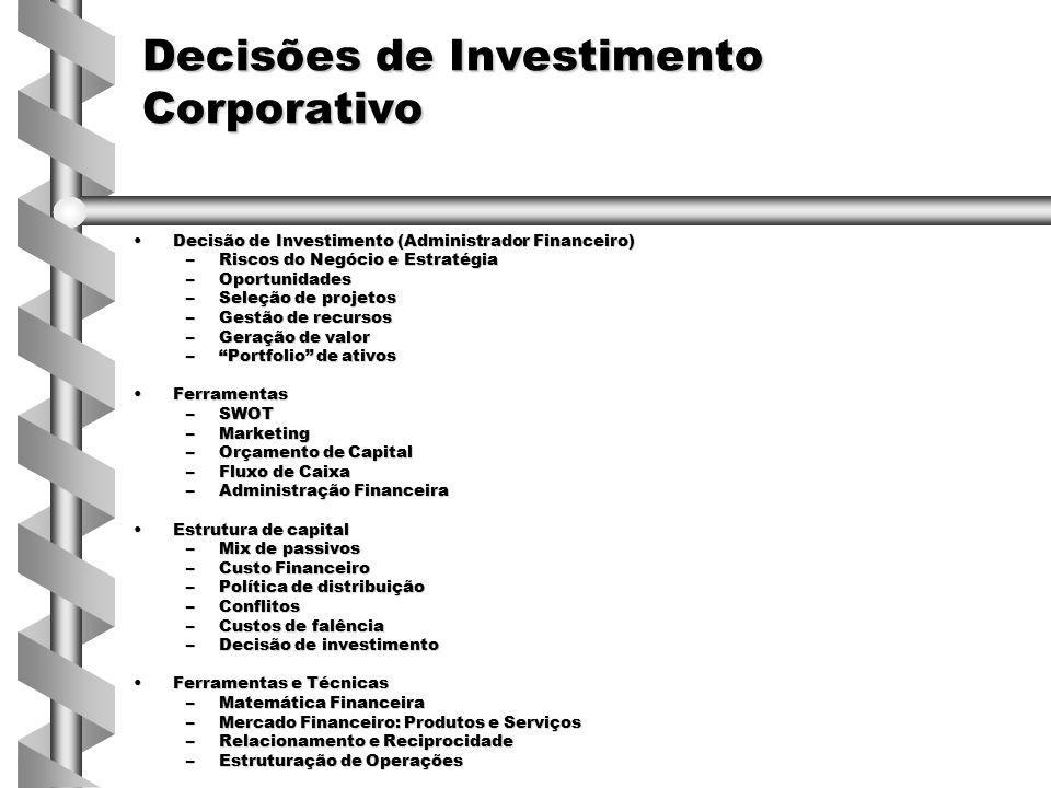Decisões de Investimento Corporativo Decisão de Investimento (Administrador Financeiro)Decisão de Investimento (Administrador Financeiro) –Riscos do N