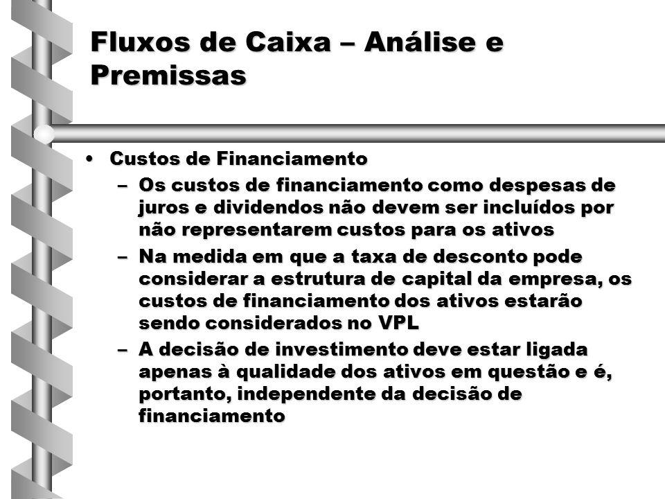 Custos de FinanciamentoCustos de Financiamento –Os custos de financiamento como despesas de juros e dividendos não devem ser incluídos por não represe