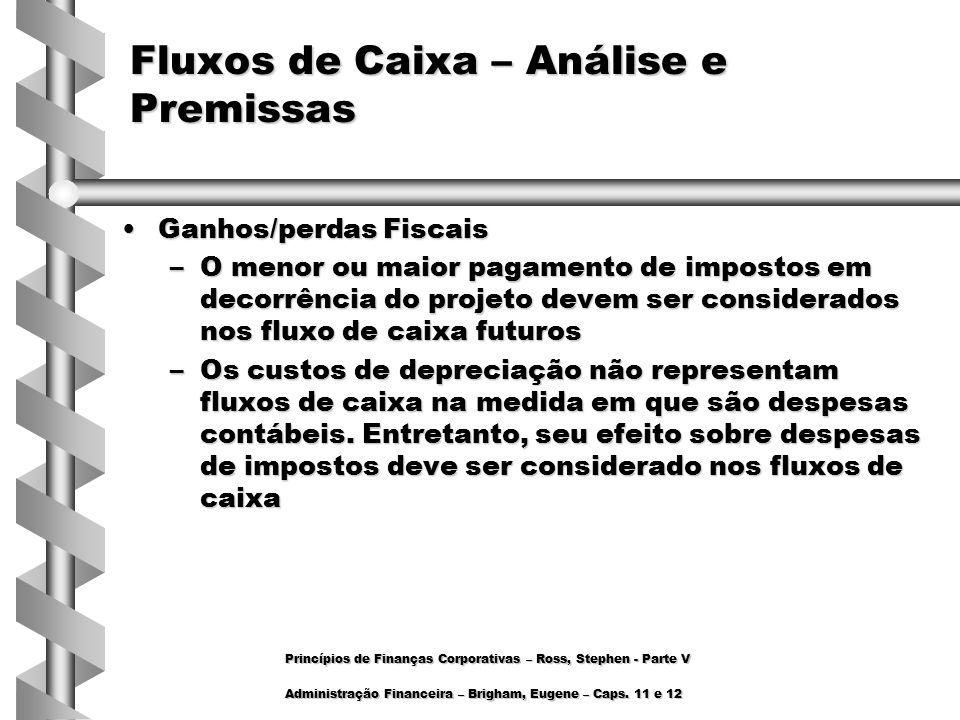Ganhos/perdas FiscaisGanhos/perdas Fiscais –O menor ou maior pagamento de impostos em decorrência do projeto devem ser considerados nos fluxo de caixa
