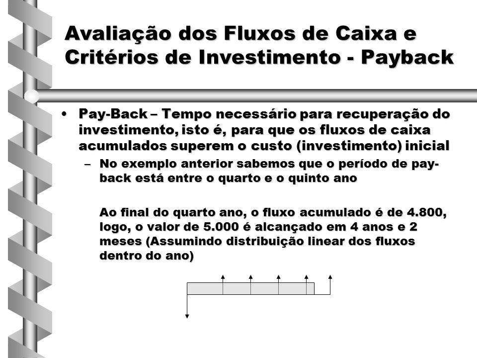 Pay-Back – Tempo necessário para recuperação do investimento, isto é, para que os fluxos de caixa acumulados superem o custo (investimento) inicialPay