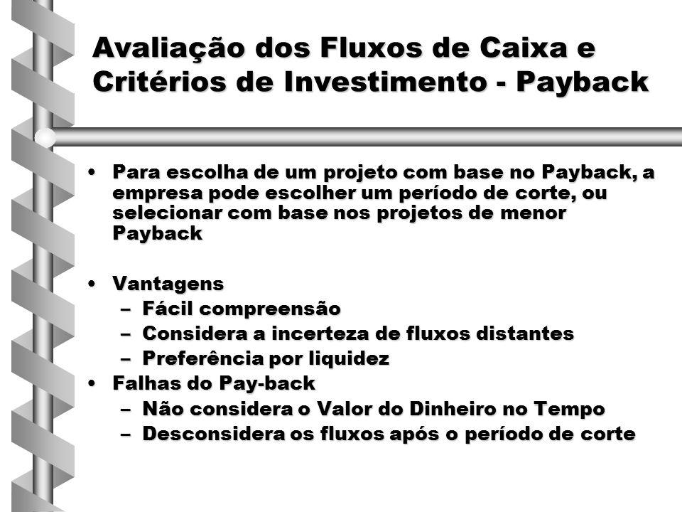 Para escolha de um projeto com base no Payback, a empresa pode escolher um período de corte, ou selecionar com base nos projetos de menor PaybackPara